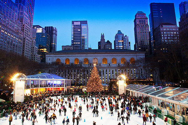 The Winter Village ice skating rink at Bryant Park