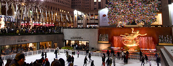 The impressive setting for ice skating at the Rockefeller Center