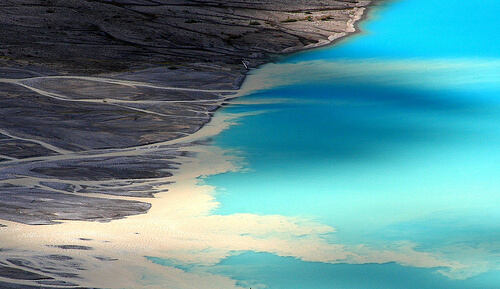 Silt runoff into Lake Louise, Canada