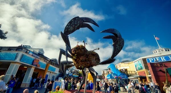 The Giant Crab welcomes you to Pier 39 at Fisherman's Wharf