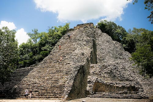 The tallest pyramid at Coba in Mexico
