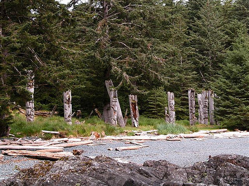 Totem poles in Charlotte Islands, Canada