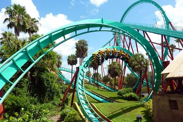 The Thrillville roller coaster in Busch Gardens, Florida