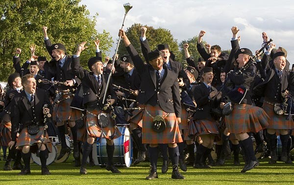 Bag pipe players at the Glasgow Pipe Band World Championship