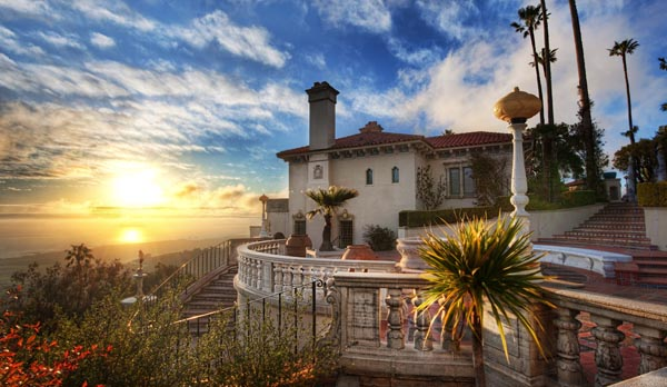 Sunset at Hearst Castle in California