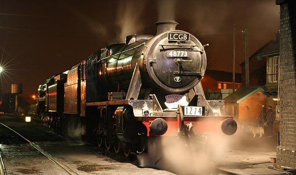 Seven Valley Railways steam locomotive at night
