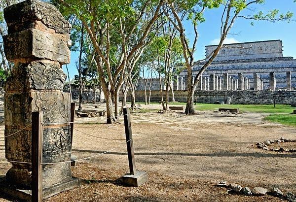 Restored column at Chichen Itza
