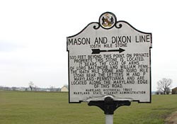 Sign for the Mason Dixon Line