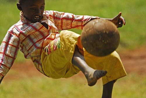 Playing football in Kenya
