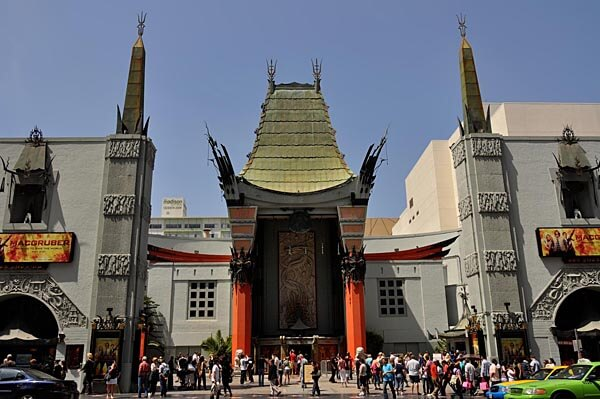 Outside the Grauman's Chinese Theater in Hollywood