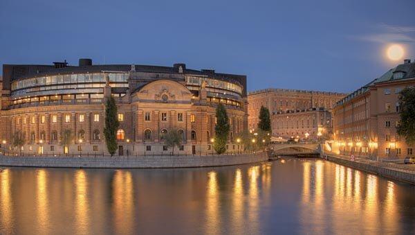 Riksdagshuset under a full moon, Stockholm