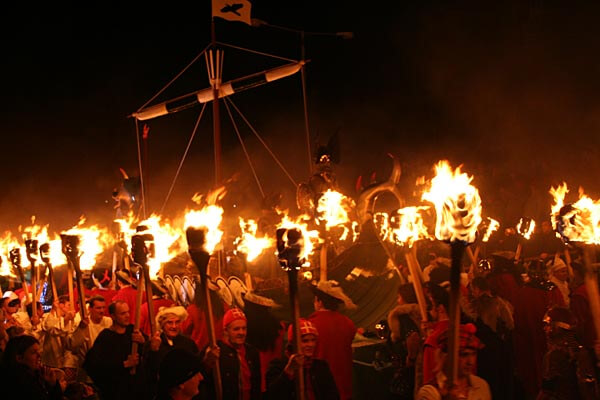 Fire procession of Vikings at Up Helly Aa!