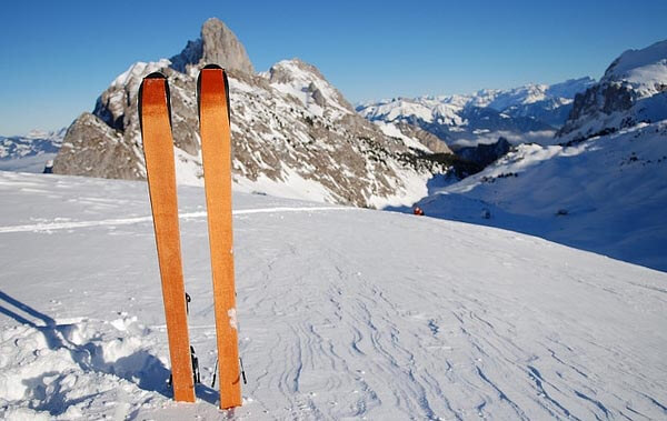 Skis on a ski slope in Switzerland