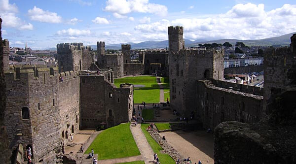 The impressive Caernarfon Castle in Wales
