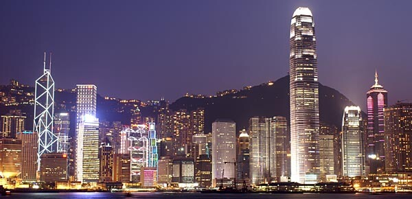Hong Kong lit up by night
