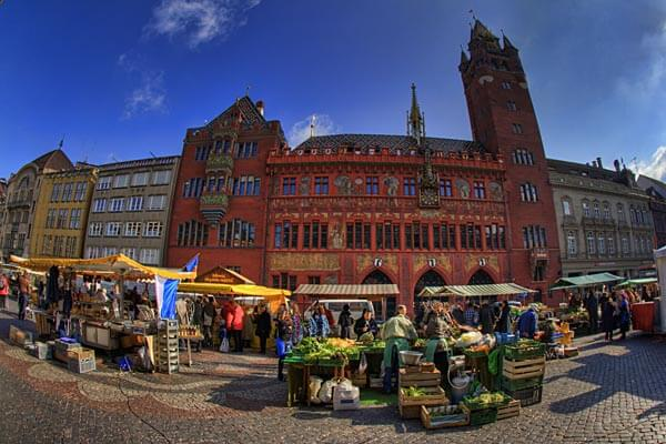 Market square and city hall in Basel