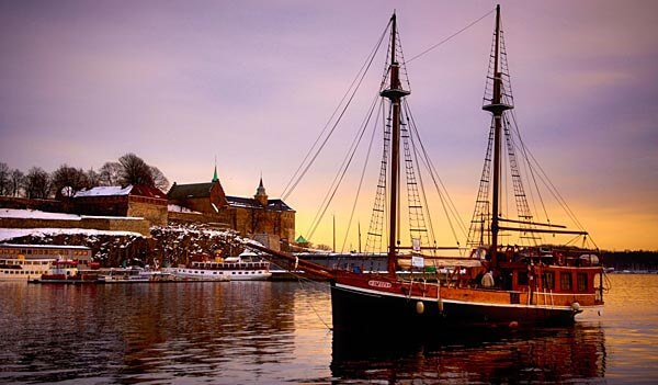 Sailing ship in Oslo harbor