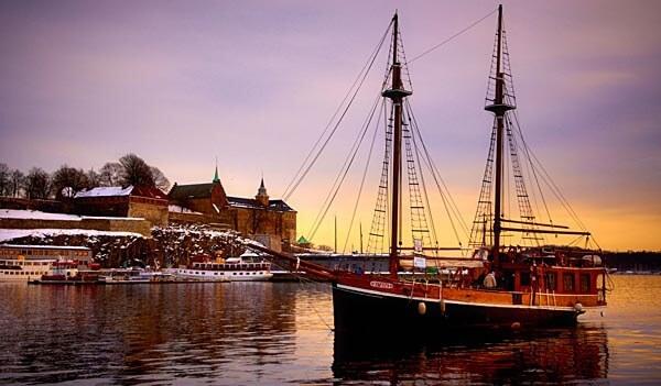 Sailing ship in Oslo harbor