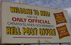 Sign for Hell's post office