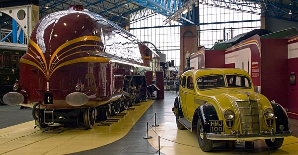Duchess of Hamilton train and car at the National Railway Museum