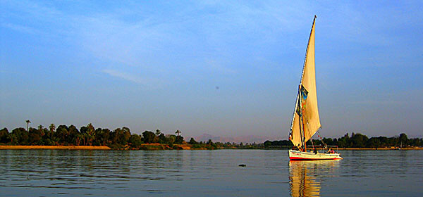 A dhow on the Nile river