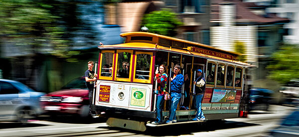 Modern cable car in San Francisco