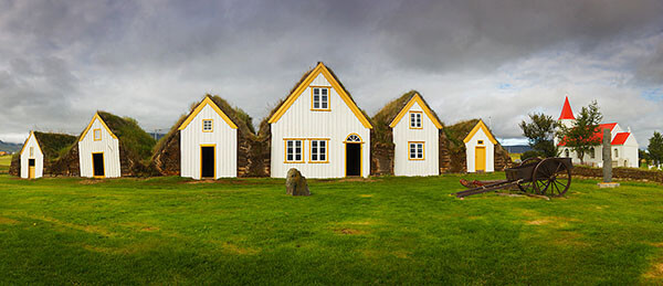 Historic houses in Glambauer, Iceland