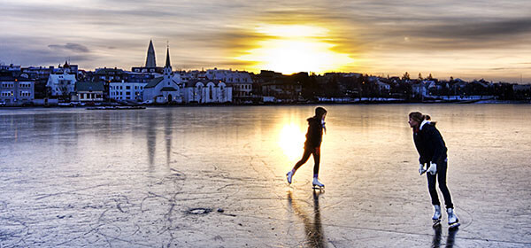 Morning skaters in Reykjavik