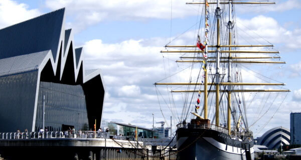 The Riverside Museum in Glasgow and tall ship Glenlee