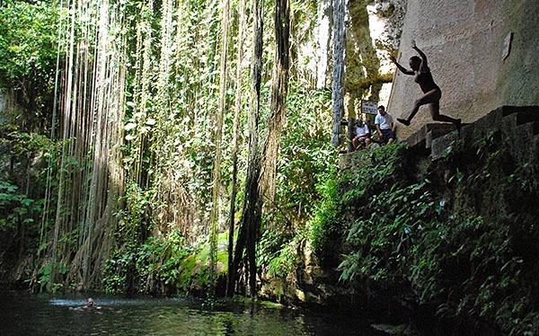 Swimming in the Cenote Sagrado
