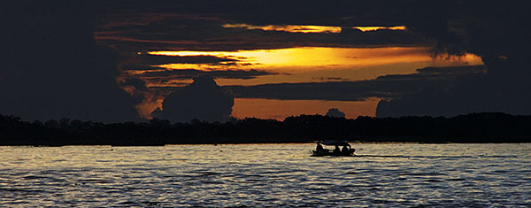 The Amazon River at sunset