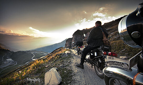 Motorcycle touring in mountains