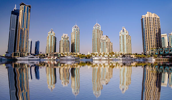 Dubai's cityscape from the sea
