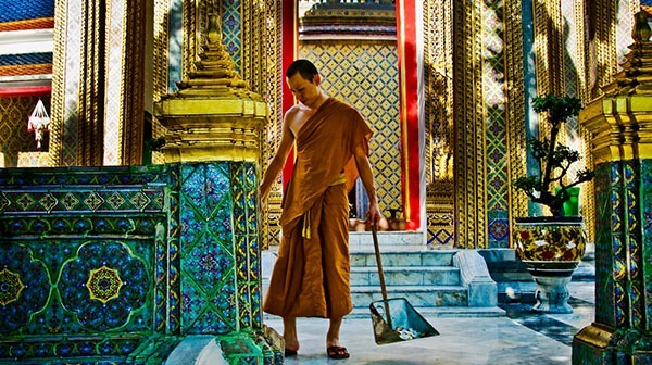 Monk in a buddhist temple, Bangkok