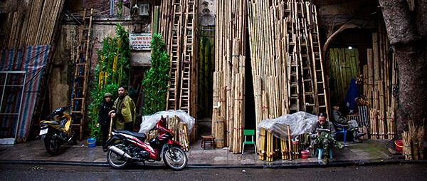 Vietname street scene with motorcycle