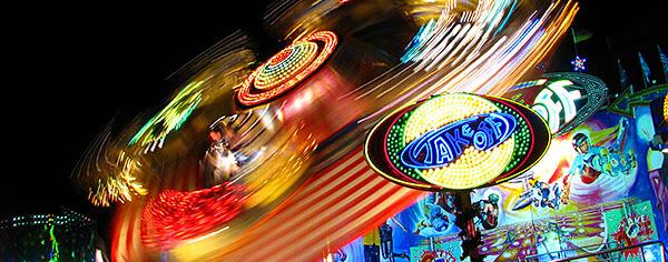 Fun fair ride at night