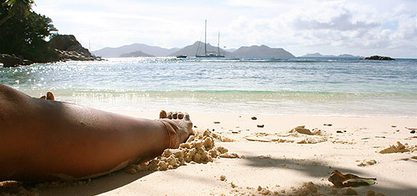 Relaxing on a beach in the Seychelles