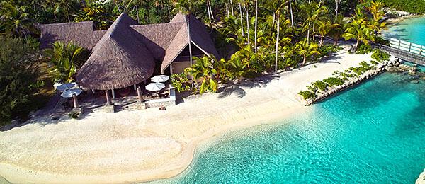 Beach side resort in Bora Bora