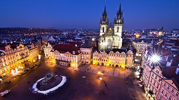 Prague's Old Square at night