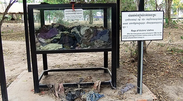 Victims' clothes at the Killing Fields, Cambodia