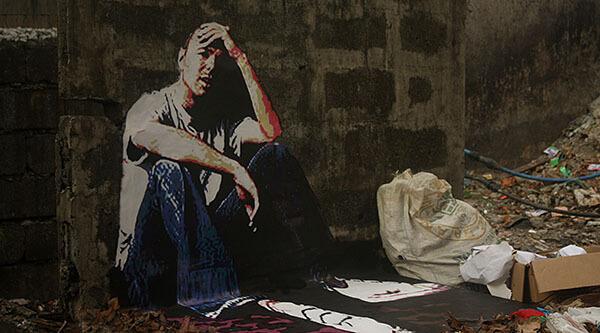 3D street art of Karl Pilkington in Manila