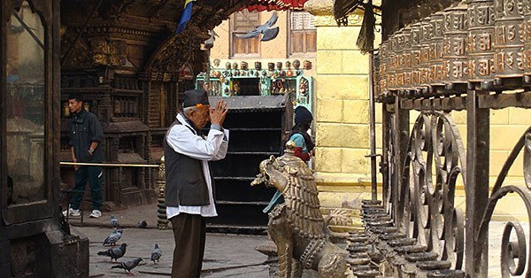 Prayer in a Nepal temple