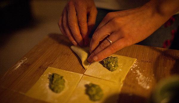 Tortellini being prepared