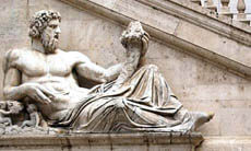 A classical statue in Rome, Italy