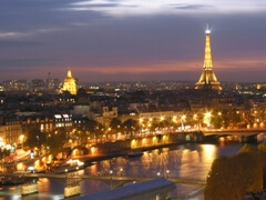 A view over Paris at night - very romantic.