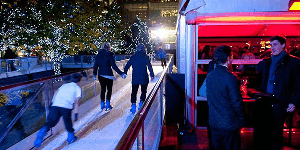 Ice rink and bar at Canary Wharf