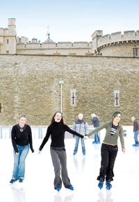 Tower of London ice rink skaters