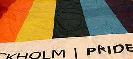 Europride flag flying in Stockholm