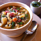 Hearty minestrone soup with pesto