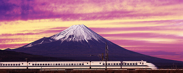 Shinkansen bullet train in front of Mt Fuji, Japan